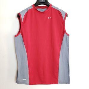 Nike Dri- Fit Red and Grey Athletic Tank Top